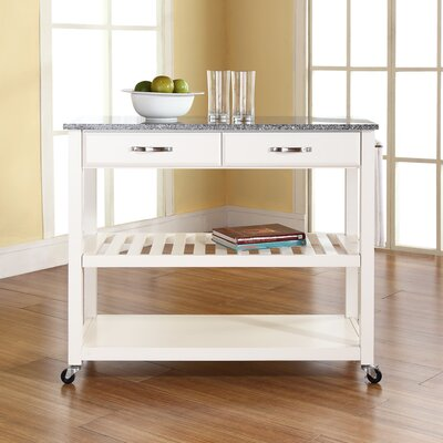 Kitchen Island with Granite Top Frame Finish: White