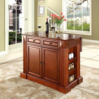 Cheap Crosley Drop Leaf Breakfast Bar Top Kitchen Island in Classic Cherry (CRY1670)