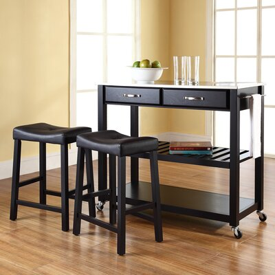 Kitchen Island Set with Stainless Steel Top Frame Finish: Black