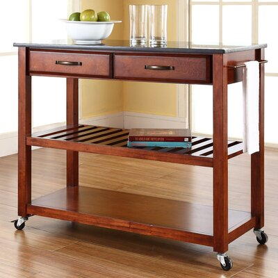 Saterfiel Kitchen Island with Granite Top Frame Finish: Cherry