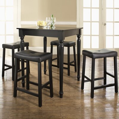 5 Piece Counter Height Pub Table Set Finish: Black