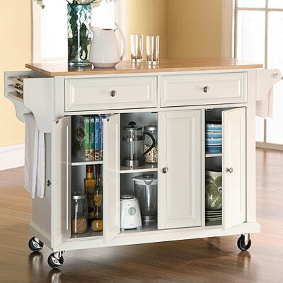 Headrick Kitchen Cart/Island with Natural Wood Top Base Finish: White