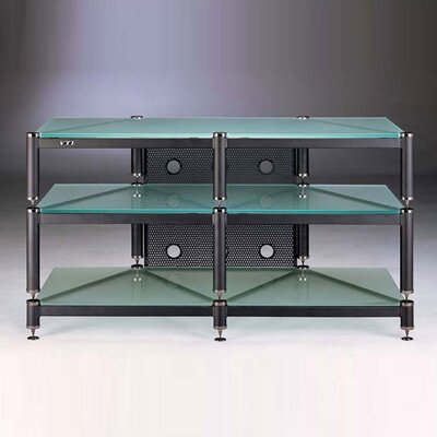 Cheap VTI 3-Shelf Audio/Video Rack in Black with Frosted Glass Shelves (VI1122)