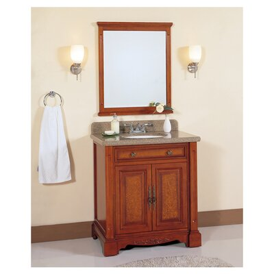 32 Single Bathroom Vanity Set with Mirror Base Finish: Light Brown