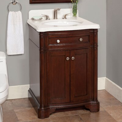 Chester 26 Single Bathroom Vanity Set Top Finish: Eliazabeth White Marble