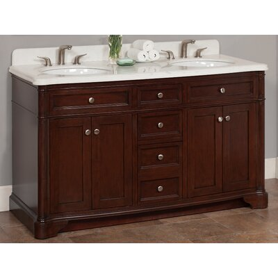 Chester 60 Double Bathroom Vanity Set Top Finish: Eliazabeth White Marble