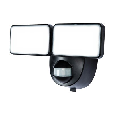Battery Powered Motion Activated 2-Light Security Light Finish: Black