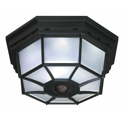 4-Light Octagonal Flush Mount with Motion Sensor Finish: Black