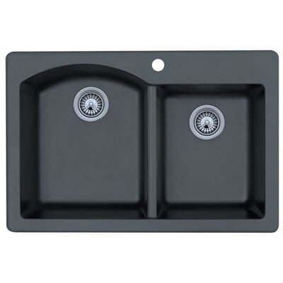 Drop-In Double Bowl Kitchen Sink in Espresso