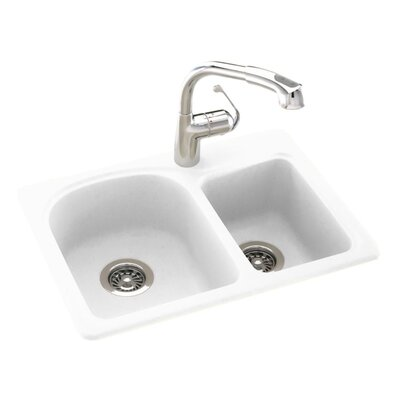 Swanstone Classics 25 x 18 Space Saver Double Bowl Kitchen Sink Finish: White