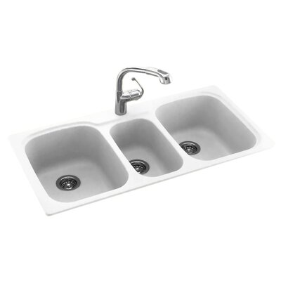 Swanstone Classics 44 x 22 Triple Bowl Kitchen Sink Finish: White