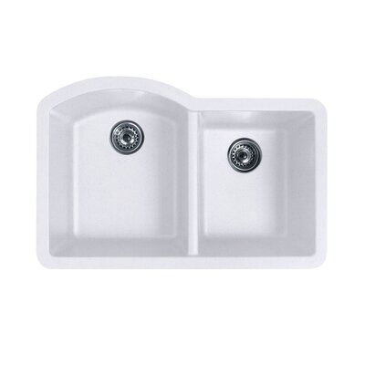 32 x 21 Double Basin Undermount Kitchen Sink Finish: Bianca
