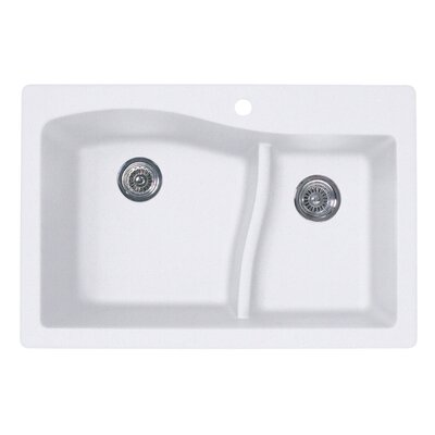 Granite 33 x 22 Double Basin Drop-In Kitchen Sink Finish: Bianca