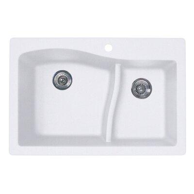 33 x 22 Double Basin Drop-In Kitchen Sink Finish: Bianca