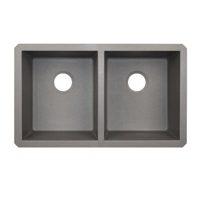31.88 x 19.25 Double Basin Undermount Kitchen Sink Finish: Metallico