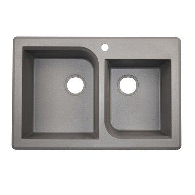 33 x 22 Double Basin Drop-In Kitchen Sink Finish: Metallico