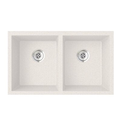 31.88 x 19.25 Equal Double Basin Undermount Kitchen Sink Finish: Bianca