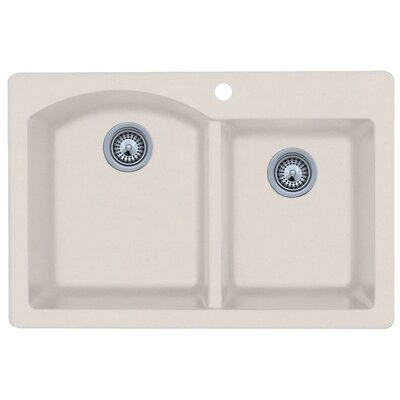 33 x 22 Double Basin Drop-In Kitchen Sink Finish: Granito