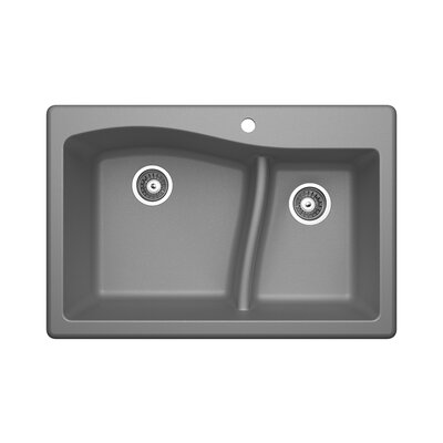 33 x 22 Double Basin Drop-In Kitchen Sink Finish: Metallico