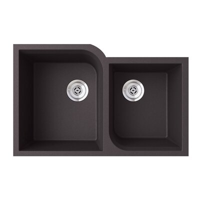 32 x 21 Double Basin Undermount Kitchen Sink Finish: Nero