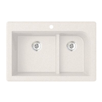 33 x 22 Double Basin Drop-In Kitchen Sink Finish: Bianca