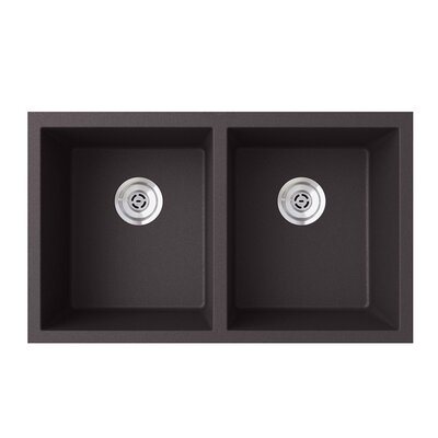 31.88 x 19.25 Double Basin Undermount Kitchen Sink Finish: Nero
