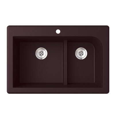 33 x 22 Double Basin Drop-In Kitchen Sink Finish: Espresso
