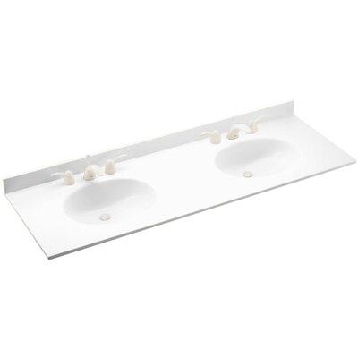 Ellipse 61 Double Bathroom Vanity Top Top Finish: White