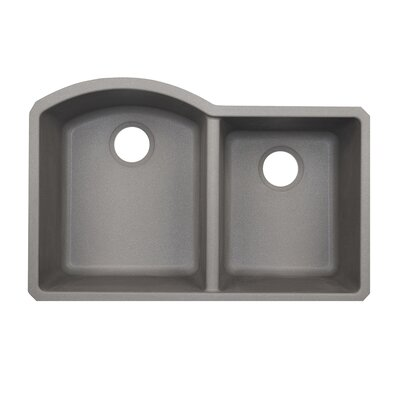 32 x 21 Double Basin Undermount Kitchen Sink Finish: Metallico