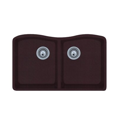 33 x 22 Double Basin Undermount Kitchen Sink Finish: Espresso