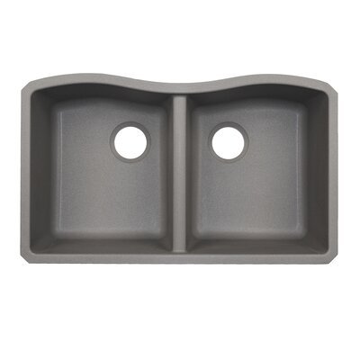 33 x 22 Double Basin Undermount Kitchen Sink Finish: Metallico