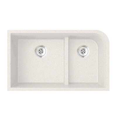 33 x 22 Double Basin Undermount Kitchen Sink Finish: Bianca