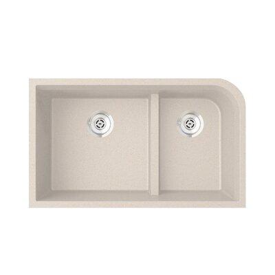 33 x 22 Double Basin Undermount Kitchen Sink Finish: Granito
