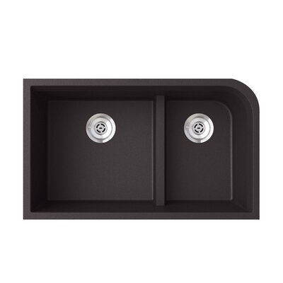 33 x 22 Double Basin Undermount Kitchen Sink Finish: Nero