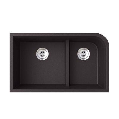 33 x 22 Double Basin Undermount Kitchen Sink Finish: Nero