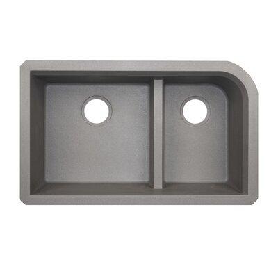 33 x 22 Double Basin Undermount Kitchen Sink Finish: Metallico