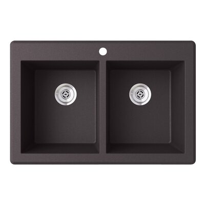 33 x 22 Double Basin Drop-In Kitchen Sink Finish: Nero