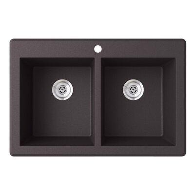33 x 22 Double Basin Drop-In Kitchen Sink Finish: Nero