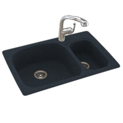 33 x 22 Double Basin Drop-In Kitchen Sink Finish: Black Galaxy