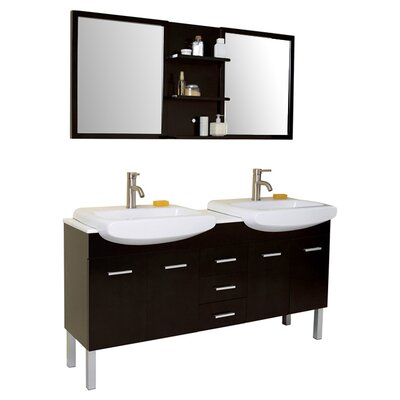 Stella 59 Double Vetta Modern Bathroom Vanity Set with Mirrors