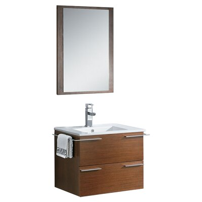 Cielo 24 Single Modern Bathroom Vanity Set with Mirror Base Finish: Wenge Brown
