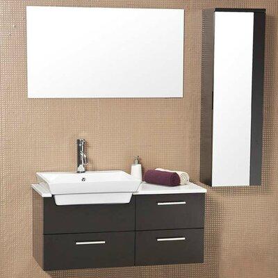 Stella 36 Single Caro Modern Bathroom Vanity Set with Mirror Base Finish: Espresso