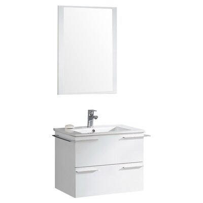 "Cielo 24"" Modern Bathroom Vanity Set with Mirror Base Finish: White"