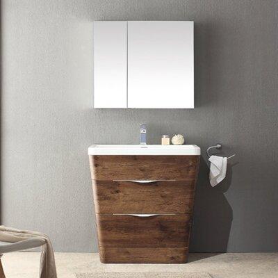 Milano 31.5 Single Sink Modern Bathroom Vanity Set Base Finish: Rosewood