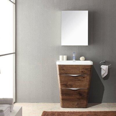 Milano 26 Single Sink Modern Bathroom Vanity Set Base Finish: Rosewood