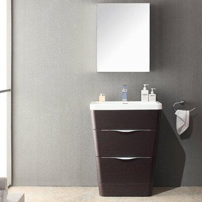 Milano 26 Single Sink Modern Bathroom Vanity Set Base Finish: Chestnut