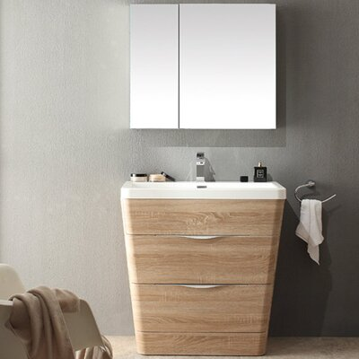 Milano 31.5 Single Sink Modern Bathroom Vanity Set Base Finish: White Oak