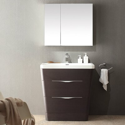 Milano 31.5 Single Sink Modern Bathroom Vanity Set Base Finish: Chestnut