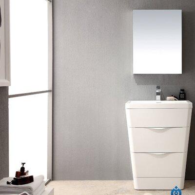 Milano 26 Single Sink Modern Bathroom Vanity Set Base Finish: Glossy White