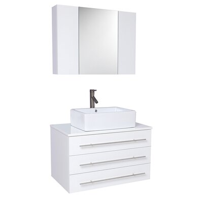 Stella 32 Single Modello Modern Bathroom Vanity Set with Mirror Base Finish: White, Top Finish: White